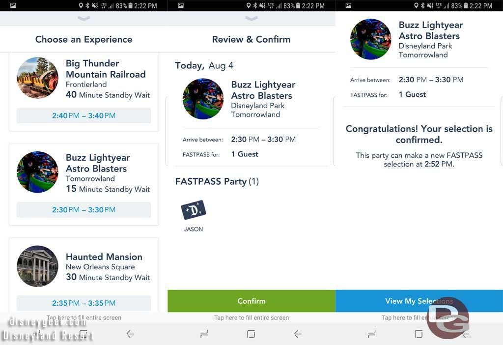 Disneyland MaxPass - Booking 2