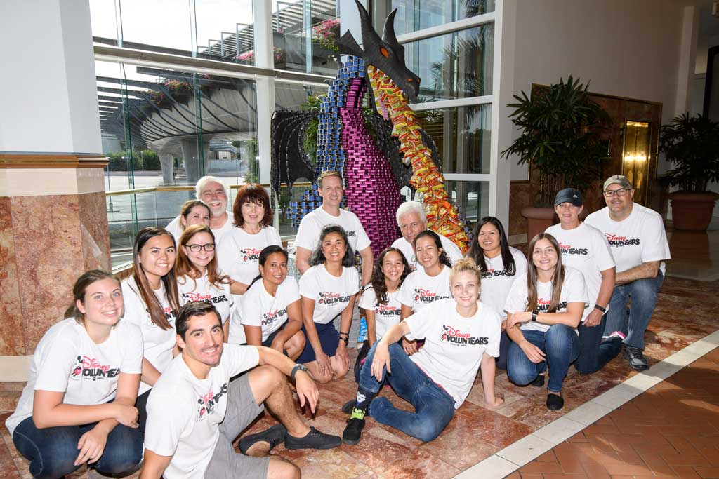 "The Disneyland Resort Design and Engineering team brought the Maleficent dragon from the popular nighttime spectacular ""Fantasmic!"" to life by creating a 10-foot character overnight from 5,250 canned goods at the 10th anniversary of CANstruction Orange County."