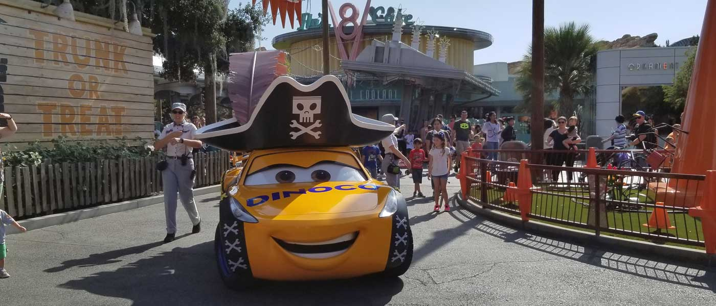 Cruz Ramirez is dressed as a Pirate for Haul-O-Ween Cars Land (several pictures & video)