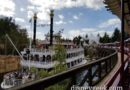Passing the Mark Twain aboard the Disneyland Railroad