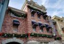 Christmas garlands on Main Street buildings