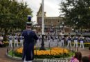 Disneyland Band performing at the nightly Flag Retreat in Town Square – no Dapper Dans tonight