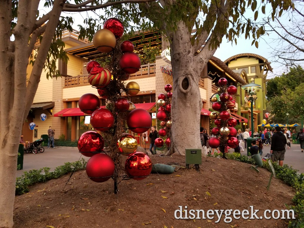 christmas decorations are being set up in downtown disney
