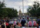 At the Disneyland nightly Flag Retreat Ceremony