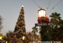 Buena Vista Street Christmas Tree as the sun is setting this evening
