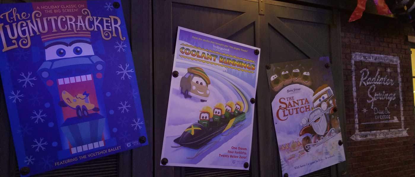 Radiator Springs – Christmas Decorations & Movie Posters (several pictures & video clips)