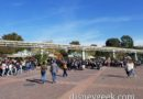 Disneyland entrance lines out past the monorail beam
