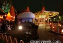 Mater pulling out of the Cozy Cone in Cars Land