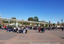 Lines to enter Disneyland at 1:10pm stretch beyond the monorail beam