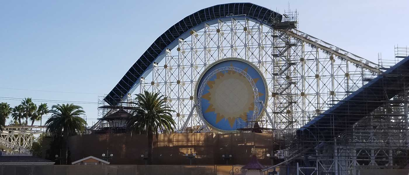 Paradise Pier Transformation to Pixar Pier Pictures from 2/9