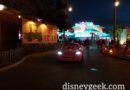 Lightning arriving at the Cozy Cone in Cars Land