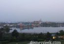 A little more hazy this morning at Shanghai Disneyland – Some sort of music rehearsal at DisneyTown at 5:30am
