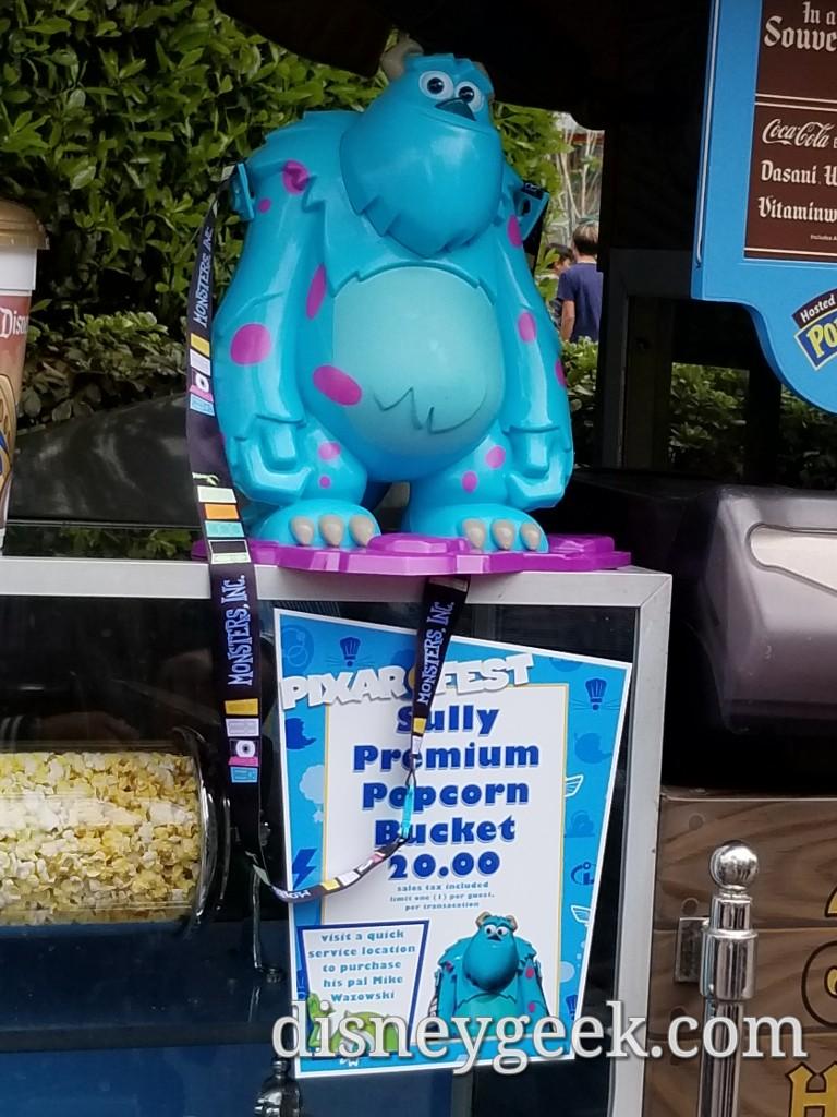 Disneyland Halloween Popcorn Bucket 2018.Sully Popcorn Buckets Are Available For Pixar Fest The