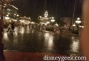 A rainy Town Square at the Magic Kingdom
