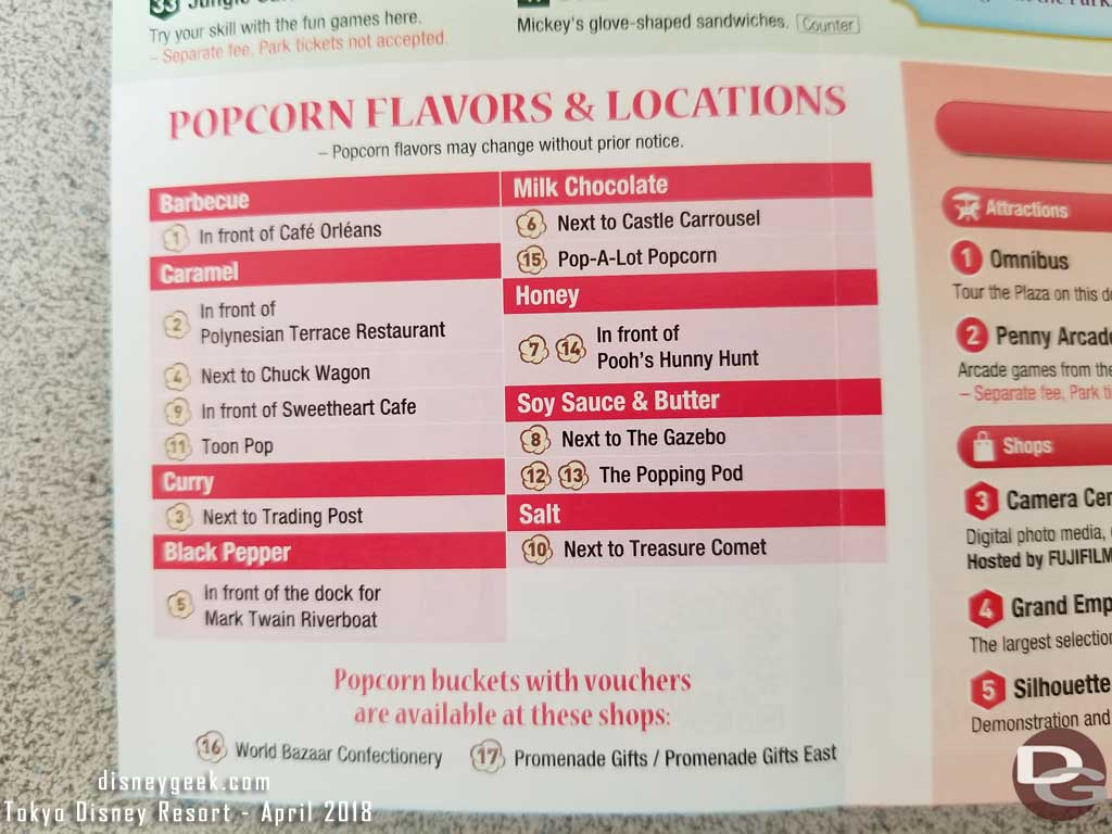 Tokyo Disneyland Popcorn Cart Location/Flavor listing on the park guidemap.