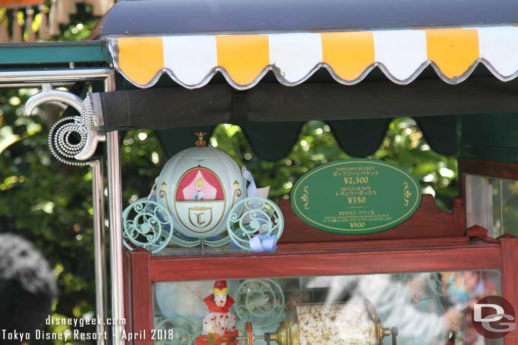 Tokyo Disneyland Popcorn - in front of Cafe Orleans features Cinderella's Coach for 2,300 yen and Soy Sauce & Butter flavor.