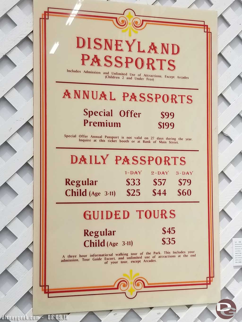 Disneyland Ticket prices from 2000 - Sold for $4,500