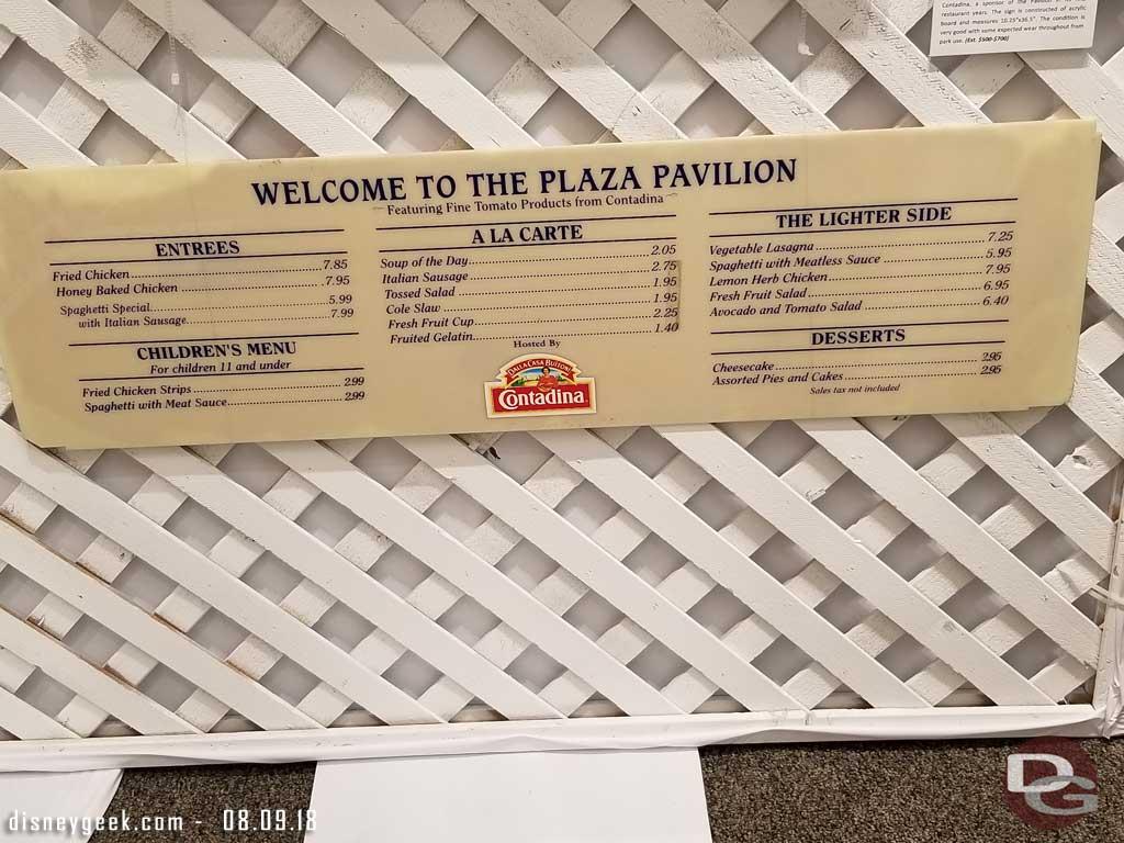 Plaza Pavilion Menu (1990s)