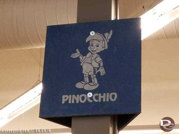 Pinocchio Parking lot sign from the original lot.