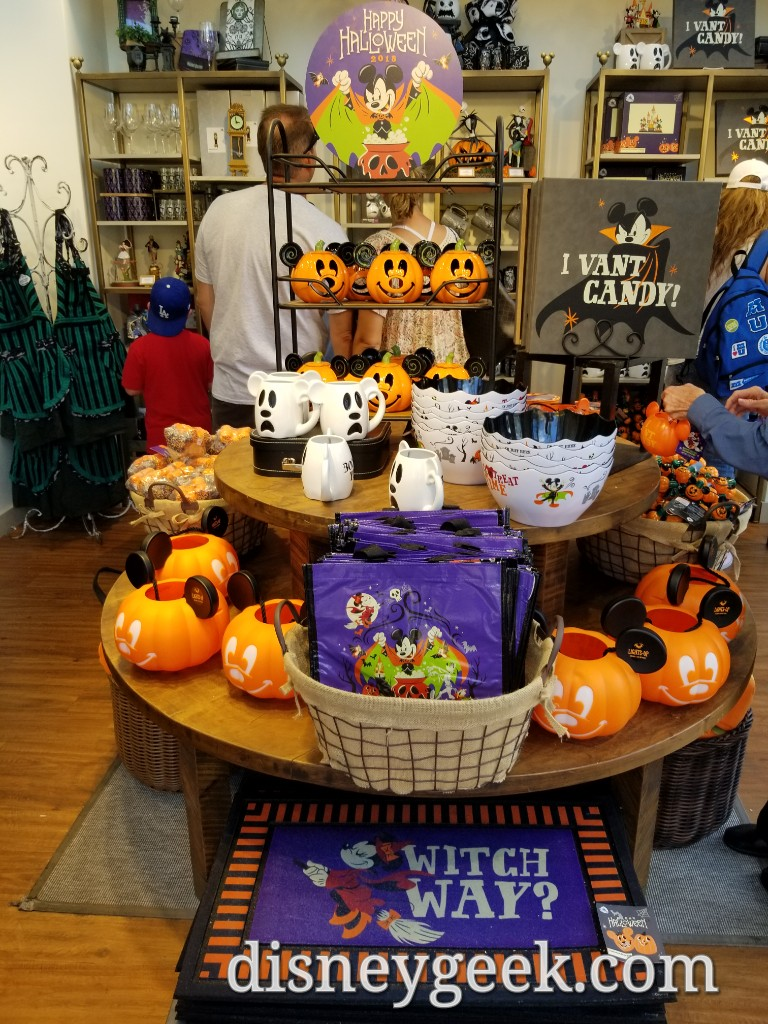 halloween merchandise that is now prominent in many of the stores in downtown disney at the disneyland resort starting off with the disney home store