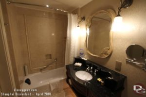 Shanghai Disneyland Hotel Room - Bathroom sink & tub/shower