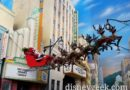 Santa and his reindeer flying over Hollywood Blvd