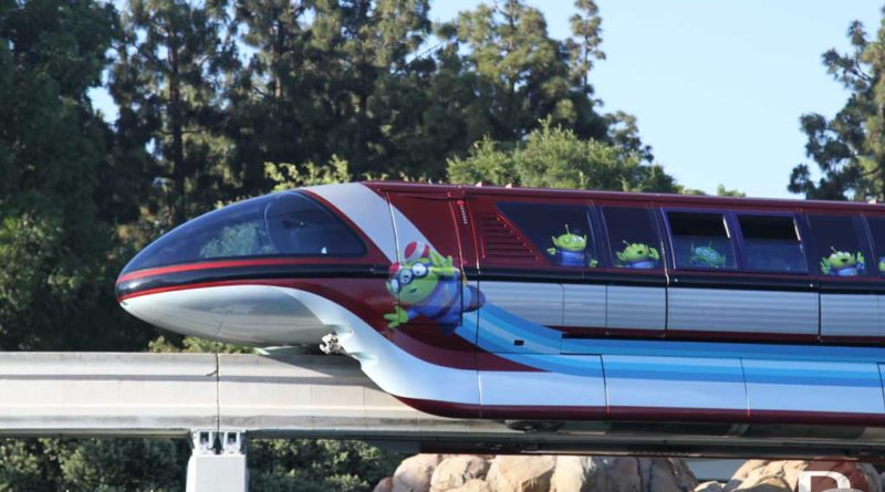 Toy Story - Little Green Men - Disneyland Monorail Red during Pixar Fest