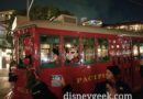 Minnie & Mickey Mouse onboard the final Red Car of the night leaving Buena Vista Street