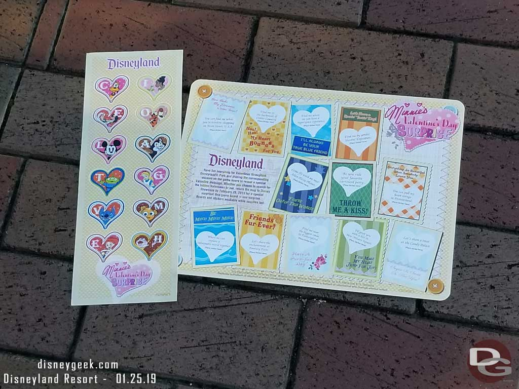 2019 Minnie's Valentine's Day Surprise Scavenger Hunt Experience Map and Sticker Set