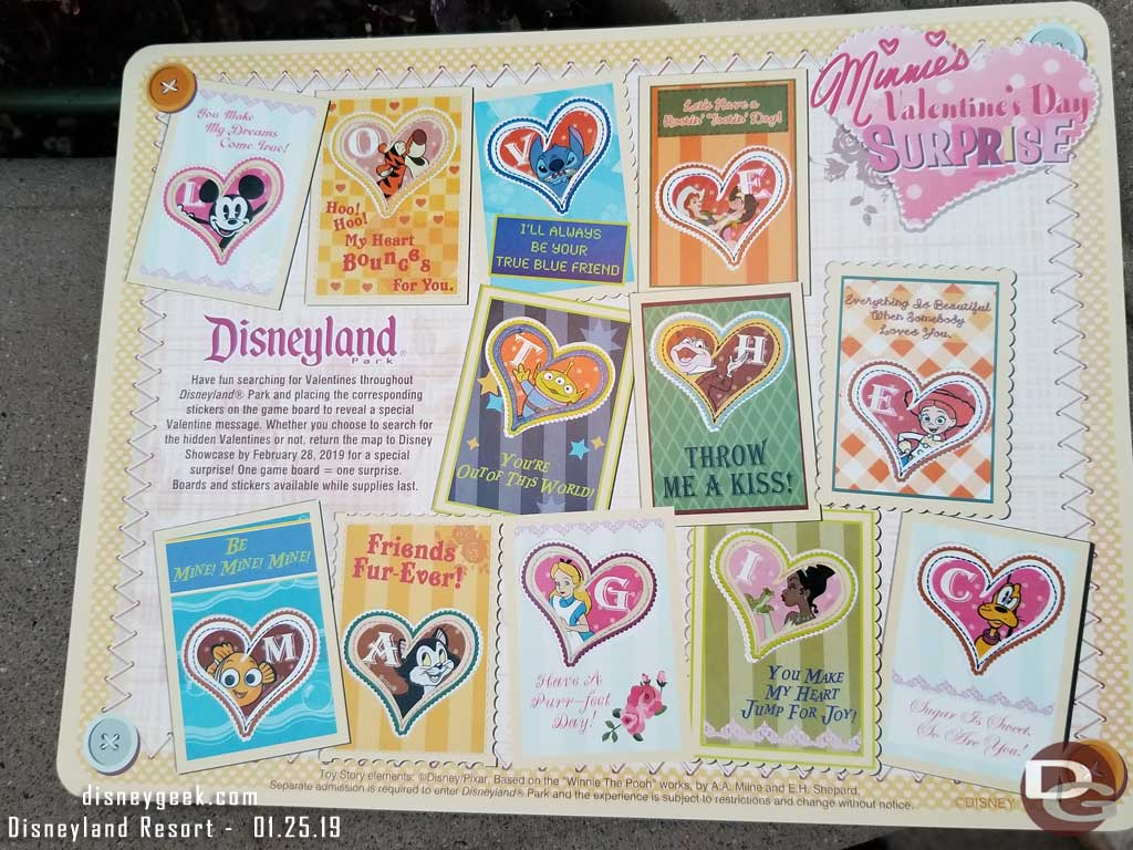 Minnie's Valentine's Day Surprise Scavenger Hunt Experience Completed Game Board