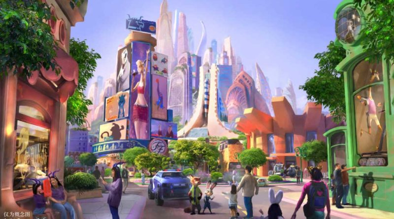 "Artist concept of Shanghai Disneyland's future ""Zootopia"" themed land"