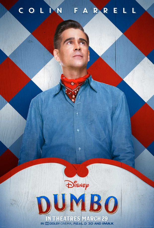 Holt Farrier (Colin Farrell), a former circus star who finds himself caring for an elephant who can fly