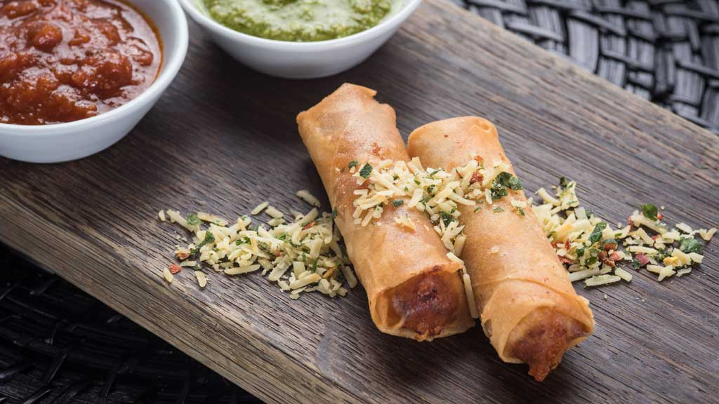 California Craft Beers - Pepperoni Pizza Egg Rolls with Marinara and Pesto Sauce