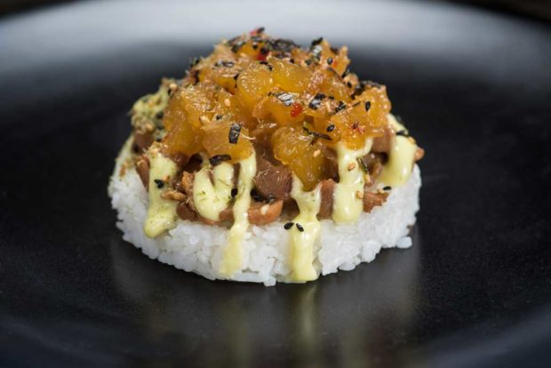 Golden Dreams - Deconstructed Teriyaki Chicken Musibi with Pineapple Relish