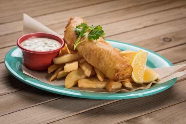 Paradise Garden Grill - Beer-battered Cod with Steak Fries and Spiced Remoulade