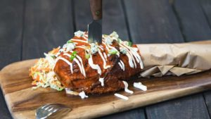 Paradise Garden Grill - Buffalo-style Roasted Turkey Leg with Celery Slaw and Crumbled Blue Cheese