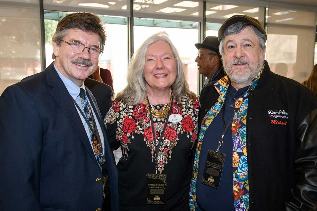 Left to right, Master Disney Animator Mark Henn and Disney artists Patty and Mike Peraza at D23's 10-Year FAN-niversary Celebration at the Walt Disney Studios, March 10, 2019.