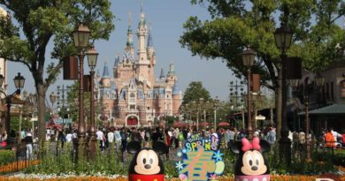 Mickey and Minnie Eggs on Mickey Ave with the Enchanted Storybook Castle in the background