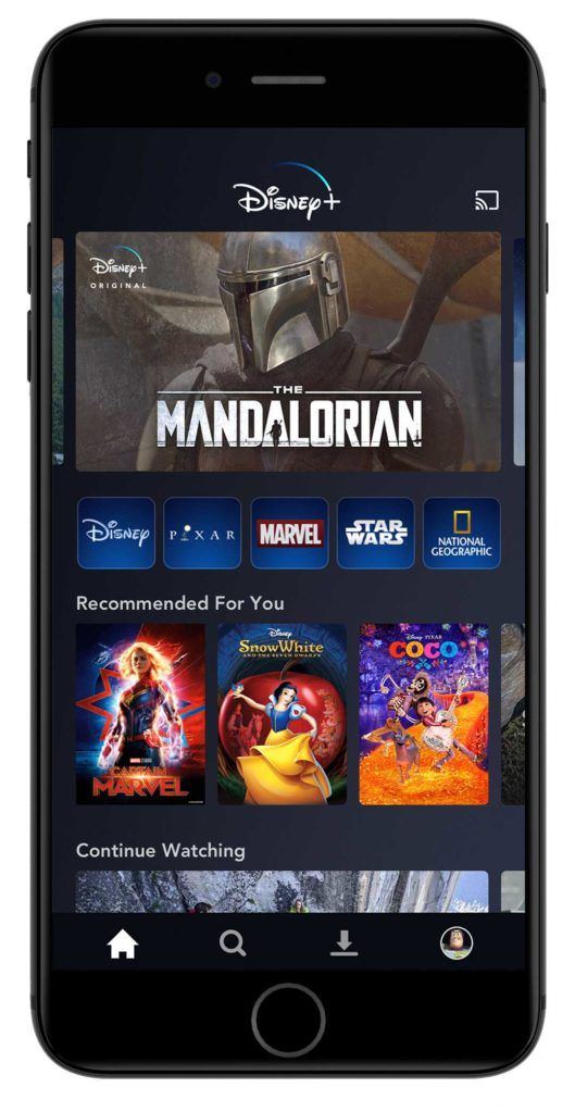 Disney+ Mobile Interface