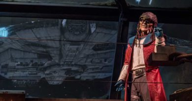 The notorious Weequay pirate, Hondo Ohnaka, gives guests their mission prior to boarding Millennium Falcon: Smugglers Run at Star Wars: Galaxy's Edge at Disneyland Park in Anaheim, California, and at Disney's Hollywood Studios in Lake Buena Vista, Florida. (Richard Harbaugh/Disney Parks)
