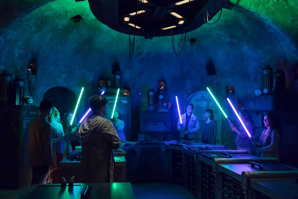 Disney guests will discover exotic finds throughout Star Wars: Galaxy's Edge at Disneyland Park in Anaheim, California, and at Disney's Hollywood Studios in Lake Buena Vista, Florida. At Savi's Workshop – Handbuilt Lightsabers, guests will have the opportunity to customize and craft their own lightsabers. In this exclusive experience, guests will feel like a Jedi as they build these elegant weapons from a more civilized age. (Joshua Sudock/Disney Parks)