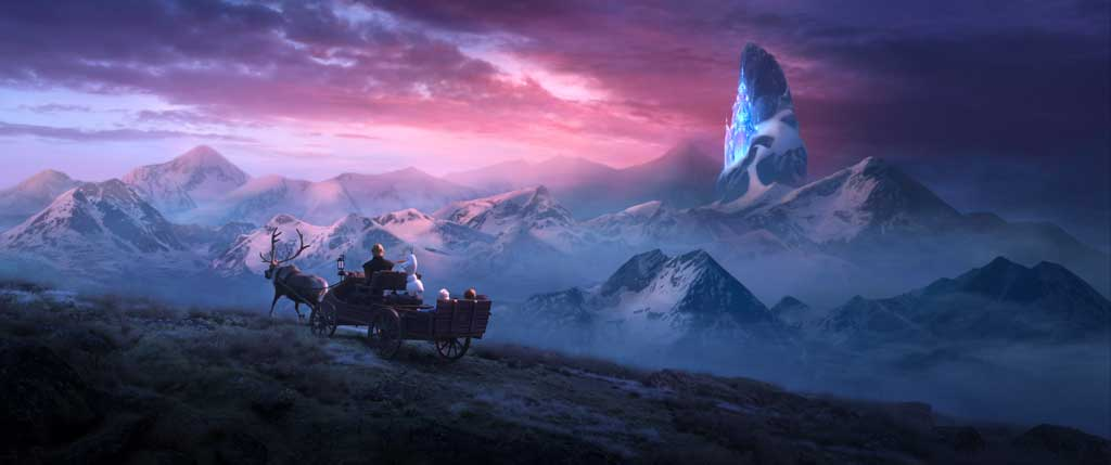 "In Walt Disney Animation Studios' ""Frozen 2, Elsa, Anna, Kristoff, Olaf and Sven journey far beyond the gates of Arendelle in search of answers. Featuring the voices of Idina Menzel, Kristen Bell, Jonathan Groff and Josh Gad, ""Frozen 2"" opens in U.S. theaters November 22."