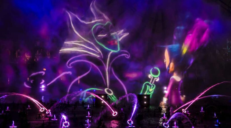 """Villainous!"" is a new ""World of Color"" show, exclusive to the new separate ticket event, Oogie Boogie Bash – A Disney Halloween Party at Disney California Adventure Park, beginning Sept. 17, 2019, for 20 select nights. The show weaves a Halloween tale about a young girl named Shelley Marie who goes on an unforgettable journey exploring the villainous side of Disney characters. ""Villainous!"" shows guests that, deep down, there's a little villain in all of us. Disneyland Resort is located in Anaheim, Calif. (Joshua Sudock/Disneyland Resort)"