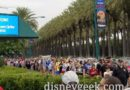 D23 Expo Security Queue wraps on Katella but is moving