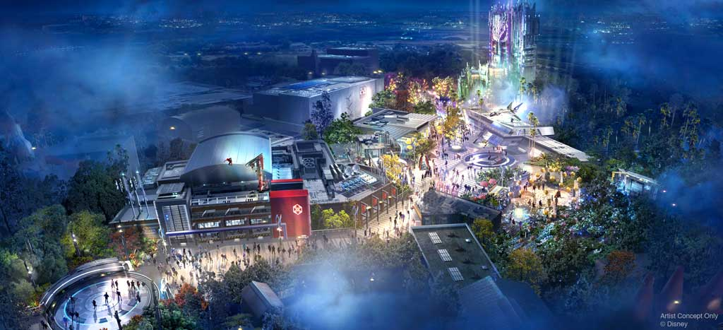 Guests can suit up alongside their favorite Super Heroes at the Avengers Campus, beginning in 2020 at Disney California Adventure park at Disneyland Resort. The campus will feature the first Disney ride-through attraction to feature Spider-Man, along with other heroic encounters. (Disney)