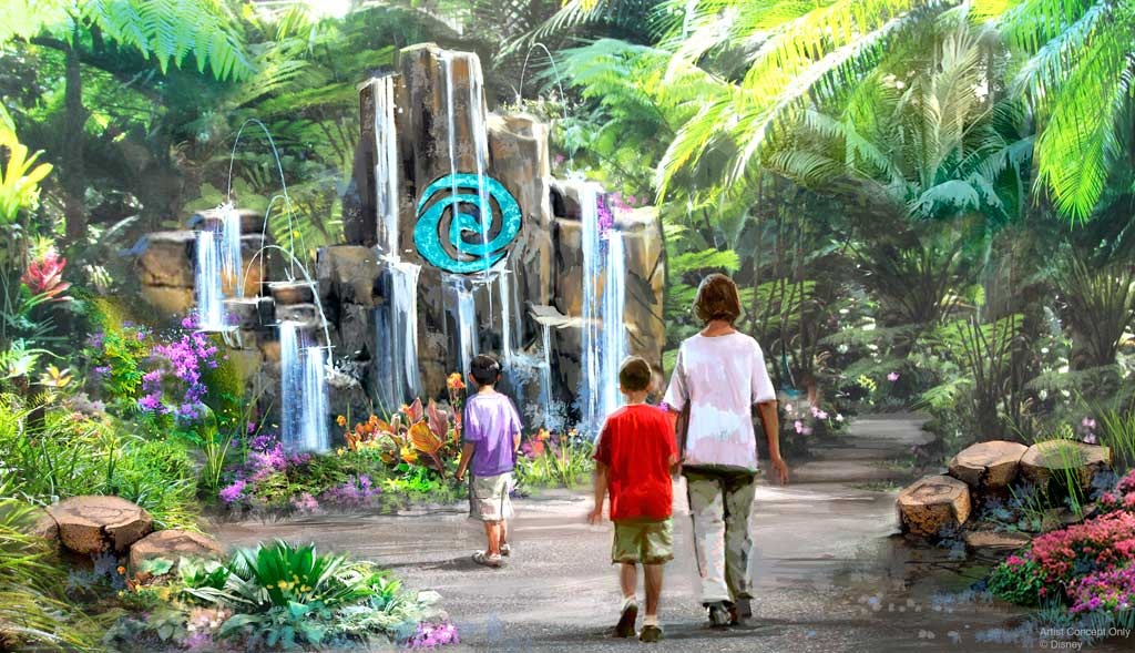 "Journey of Water, Inspired by ""Moana"" at Epcot will be the first attraction inspired by the hit Walt Disney Animation Studios film. This lush exploration trail will invite guests to meet and play with magical, living water. (Disney)"