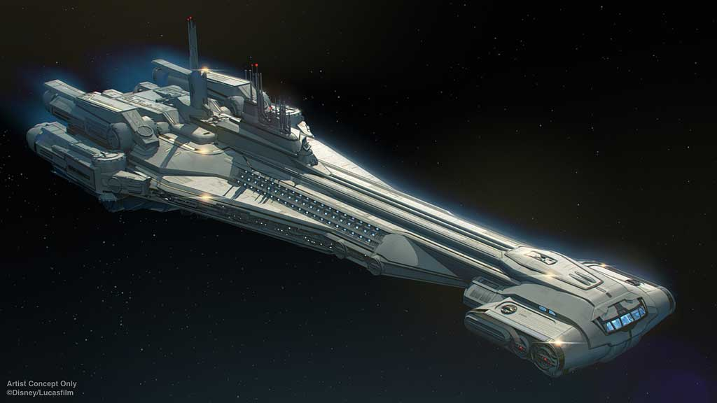 Star Wars: Galactic Starcruiser at Walt Disney World Resort in Florida will invite guests aboard the Halcyon, a starcruiser known throughout the galaxy for its impeccable service and exotic destinations. Onboard, they will stay in well-appointed cabins, experience onboard dining, make a planet-side excursion to Black Spire Outpost on Batuu, and much more. (Disney)