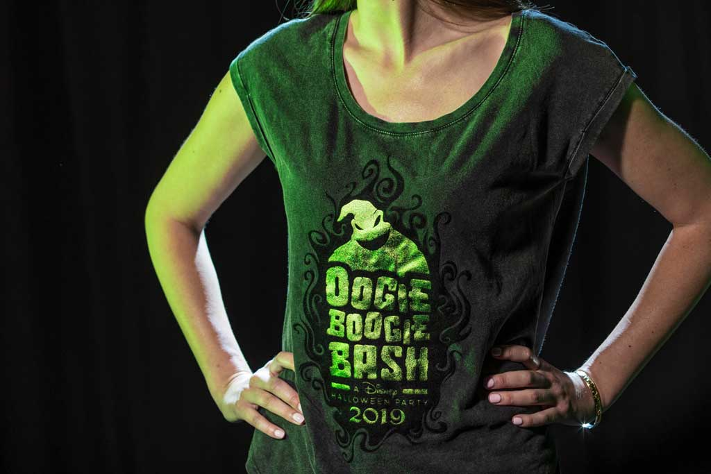 Oogie Boogie Bash women's tee found at Elias & Co. and Gone Hollywood at Disney California Adventure Park. (Joshua Sudock/Disneyland Resort)