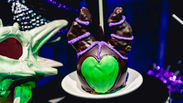 Throughout Disneyland Park, Disney California Adventure Park and Downtown Disney, guests will find this Maleficent Apple, available Oct. 18-31. (David Nguyen/Disneyland Resort)