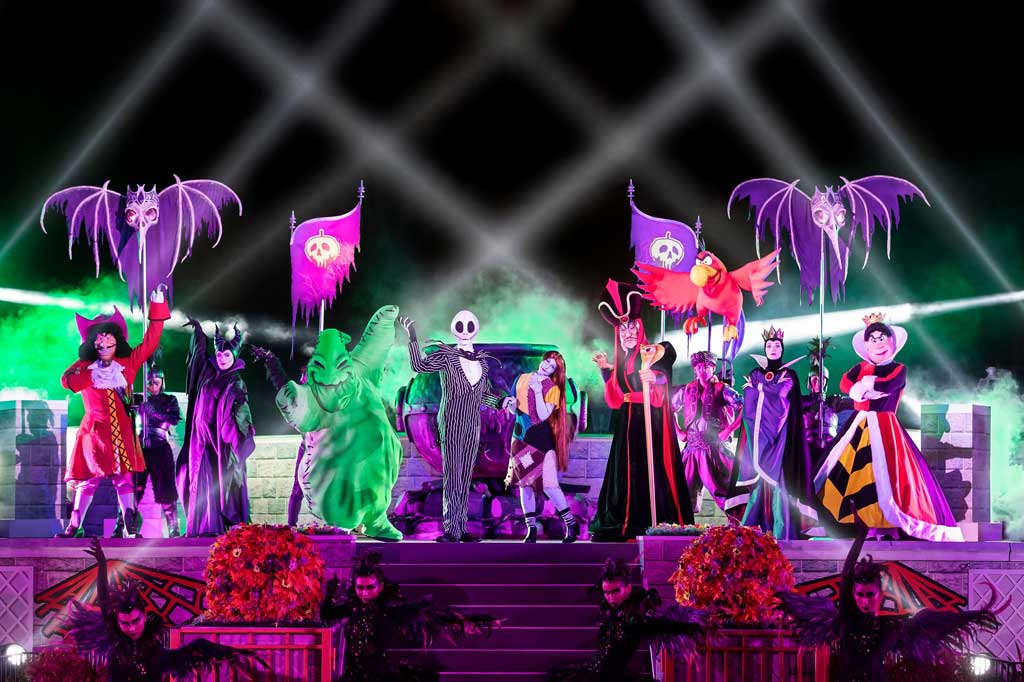 "Hong Kong Disneyland - Halloween - Jack Skellington, Sally and some of Disney's most formidable Villains will emerge from the shadows at the Castle Hub Stage for the brand-new ""Jack Skellington's Villainous Gathering."